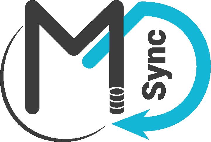 Master Data Synchronization logo (Black and blue)